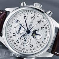 Автоматические механические мужские часы GUANQIN, мужские водонепроницаемые наручные часы с календарем, луной, кожаным ремешком