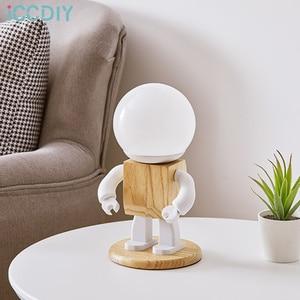 Cute Robot Table Light Nordic Modern White Wood Table Lamp LED Kids Baby Girl Boy Children Bedroom Bedside Mini Night Lights
