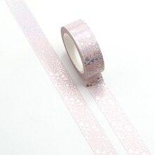 Nueva bonita cinta Washi plateada con lámina de corazón, papel japonés para DIY, planificador, pegatinas decorativas de álbum de recortes, cinta adhesiva, papelería