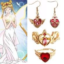 Anillo de cristal de Anime para chica, accesorios adorables, varita de Luna