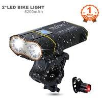 Велосипедный передсветильник онарь с креплением на руль, 2 светодиосветодиодный XML-L2 лм, зарядка через USB