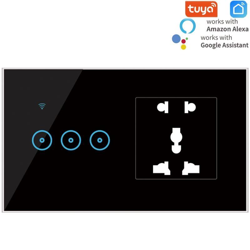 Tuya/Ewelink مقبس الطاقة العالمي الجدار مع 1-2-3 عصابة واي فاي اللمس التبديل ، لوحة الكريستال والزجاج الفاخرة يعمل اليكسا ، جوجل