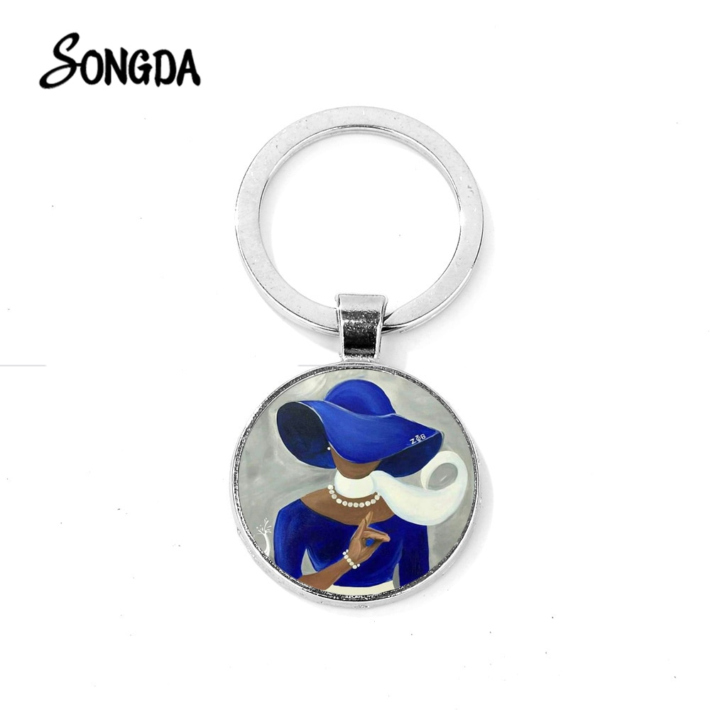 SONGDA New ZETA PHI BETA Charm Keychain Greek Sorority ZPB Sisterhood Symbol Crystal Dome Key Chain Elegant Women Members Gifts