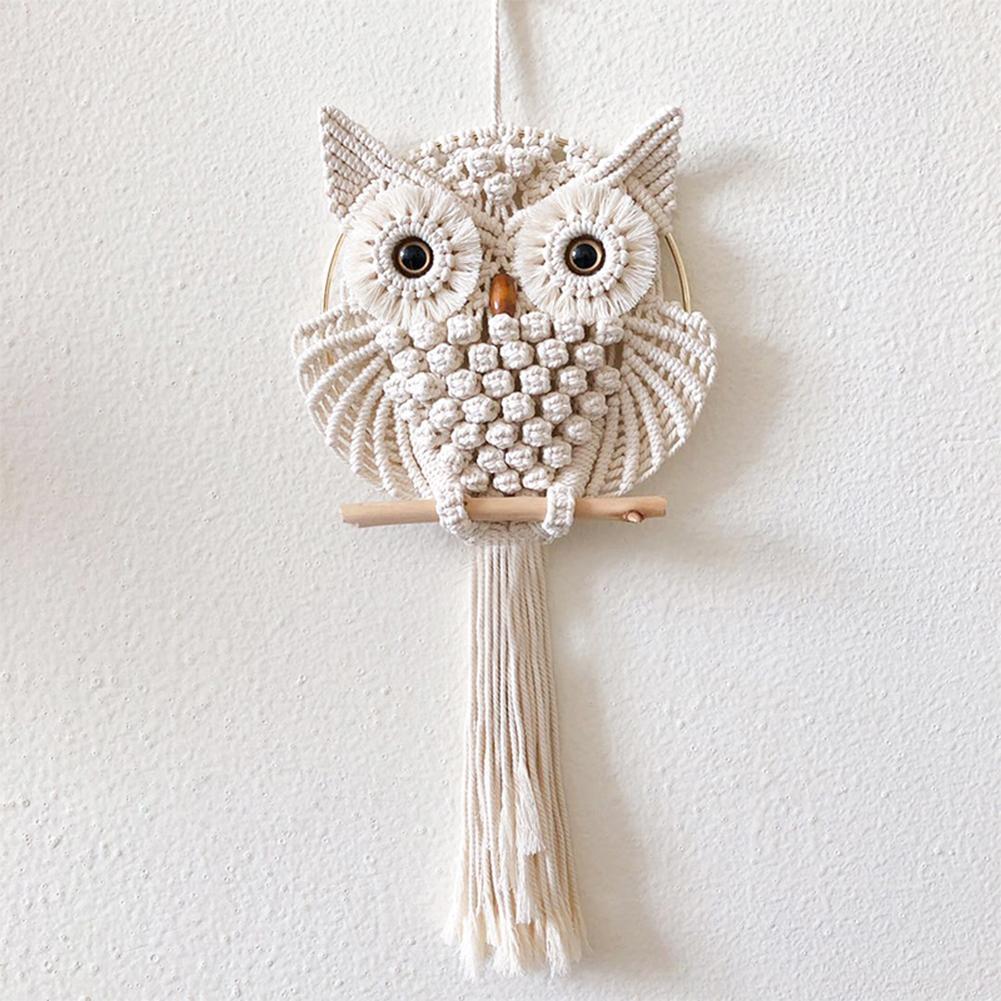 Coruja sonho apanhadores algodão macrame tapeçaria tapeçaria pendurado decoração macrame # 4o