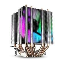 Refroidisseur dair Cpu 6 caloducs double tour dissipateur thermique avec 90Mm arc-en-ciel Led ventilateurs pour Intel 775/1150/1155/1156/1366