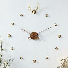 Hoshine-horloge murale de grande taille   Design moderne, horloge murale, Art européen, décoration murale 3D, décor de maison, en métal bois