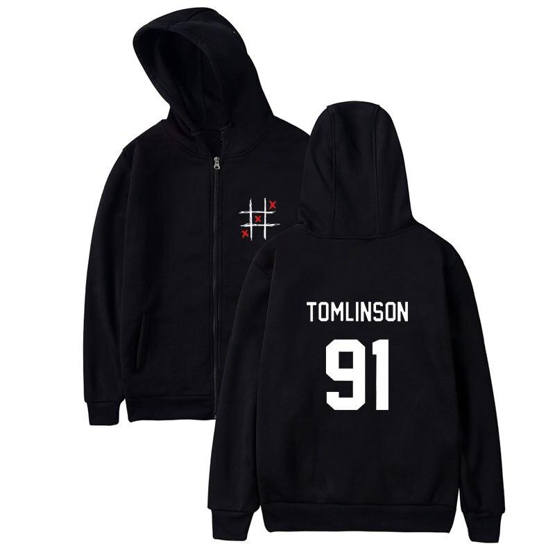 Louis Tomlinson Miss You Smiley Face Hoodie Sweatshirt Women Men Hip Hop Hipster Zipper Fleece Hoodies Brand Jacket Coat Sudader