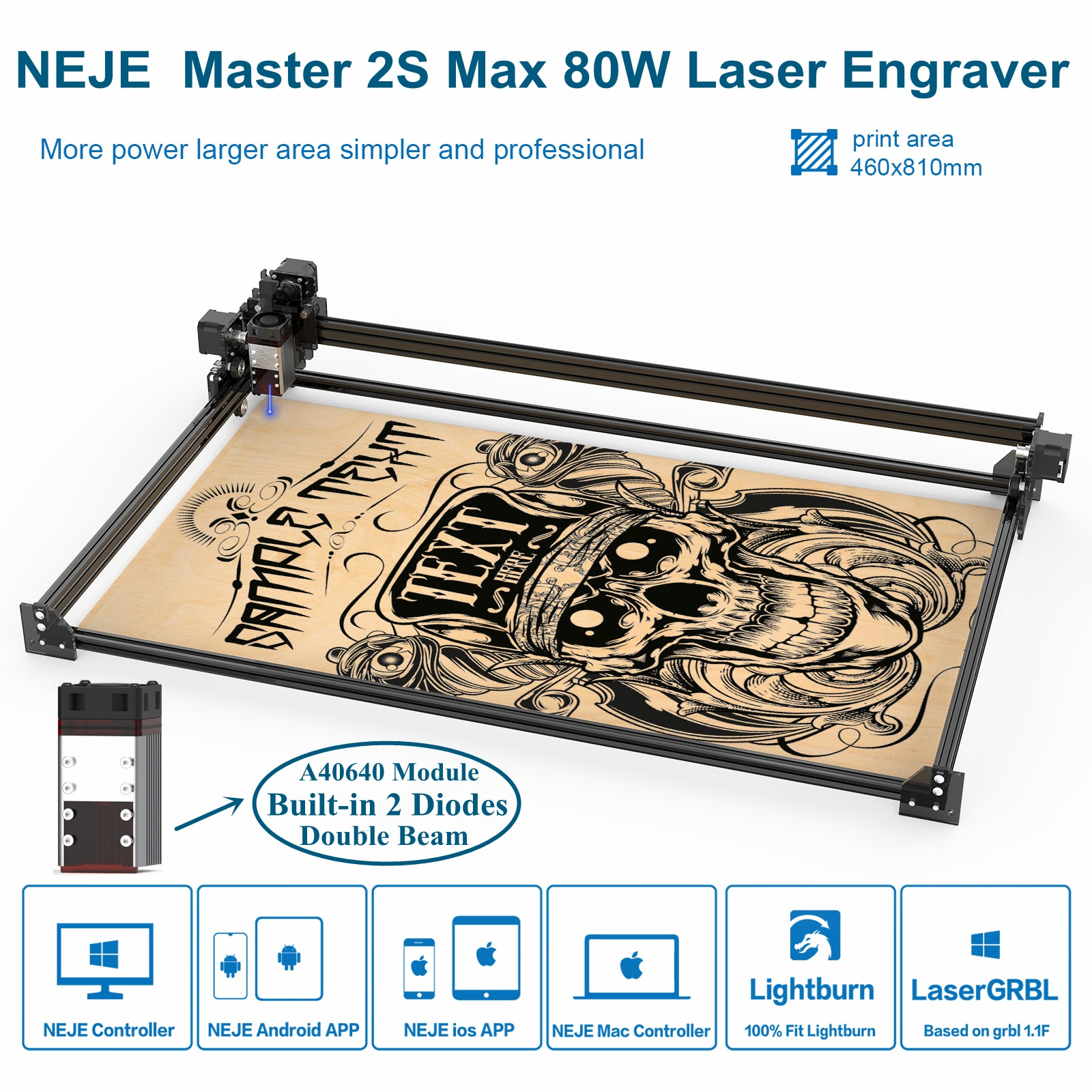 NEJE Master 2s Max 80W CNC Laser Engraver Cutter Cutting Engraving Machine Router Lightburn Laser For Wood With App Contorl