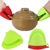 1pc kitchen silicone heat resistant gloves clips insulation non stick anti slip pot bowel holder clip cooking baking oven mitts