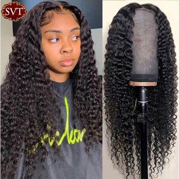 SVT – perruque indienne bouclée, cheveux naturels, Deep Wave, 4x4, sans colle, naissance des cheveux pre-plucked, pour femmes noires