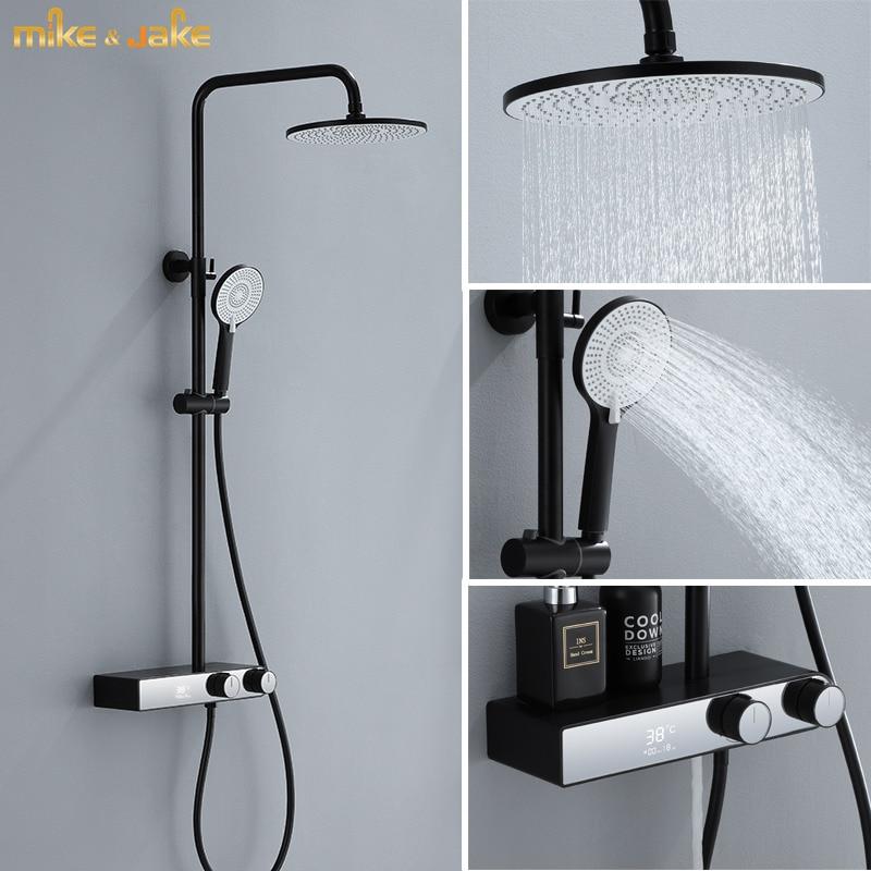 الحمام الرقمية دش خلاط عدة الزجاج لوحة دش الجدار الأسود مع عرض درجة الحرارة دش حمام الحنفية