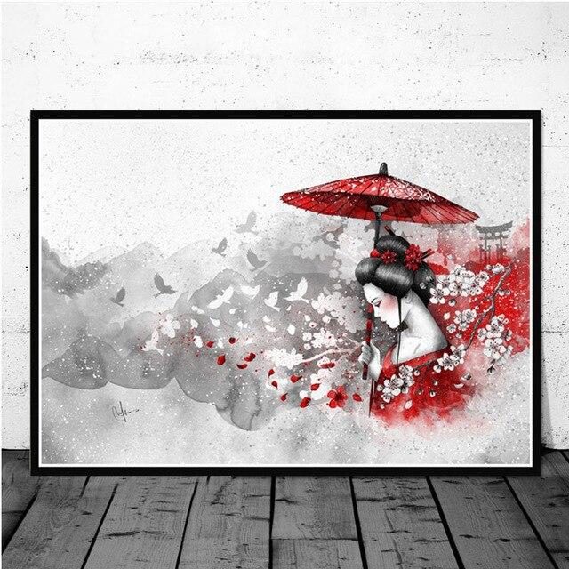 Japanese Style Zen Ink Bonsa Bushido Samurai Kanji Retro Poster Wall Art Prints Canvas Painting Modern Living Room Home Decor