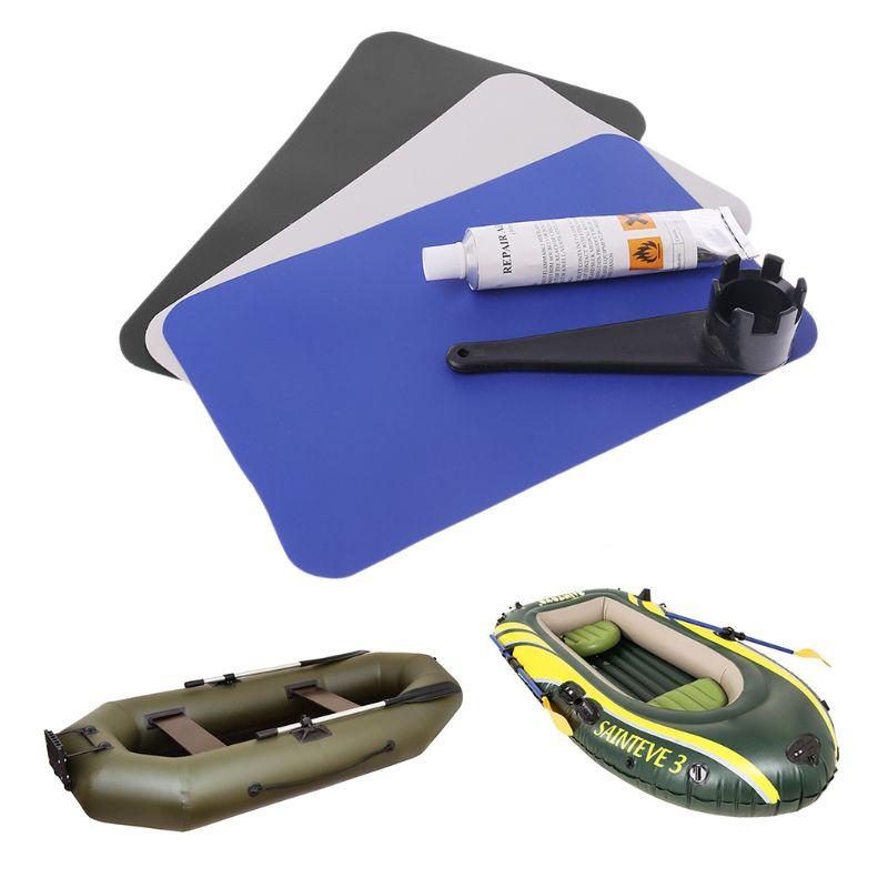 Barco inflable, kayak para piscina, reparación de perforaciones de PVC, juego de pegamento, llave de válvula de canoa adhesiva