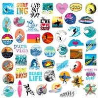 50pcsset summer surfing stickers for fridge laptop scrapbooking skateboard motor casque pegatinas phone sticker kids stickers