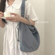 Cordon plissé sacs de messager femmes toile grande capacité sac à bandoulière femme coréenne décontracté sacs décole bleu blanc MM50057