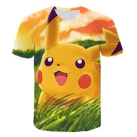 2021 new cute pikachu men women t shirt pokemon print hd 3d t shirt summer harajuku boys o neck t shirt short sleeve tops