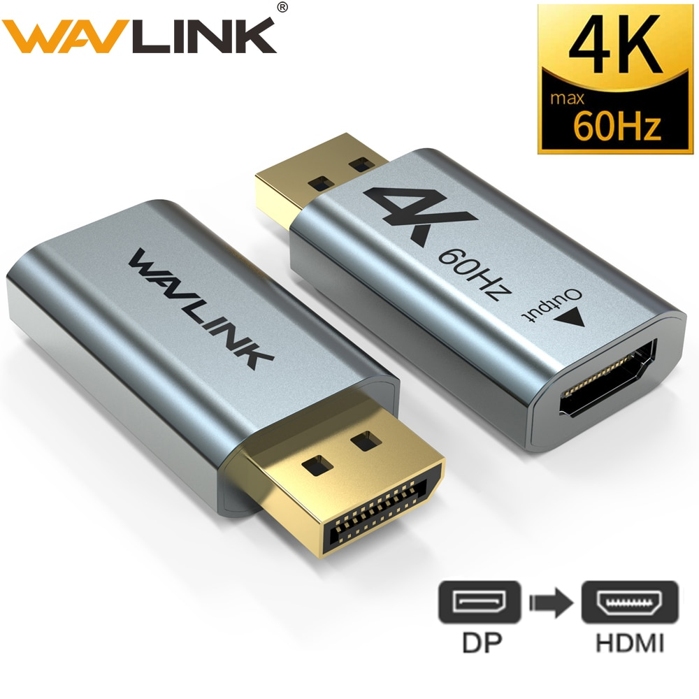 Alumínio 4 k displayport dp para hdmi adaptador 4 k 2k @ 60 hz 1080 p fêmea para macho para pc portátil projetor dp para hdmi conversor wavlink