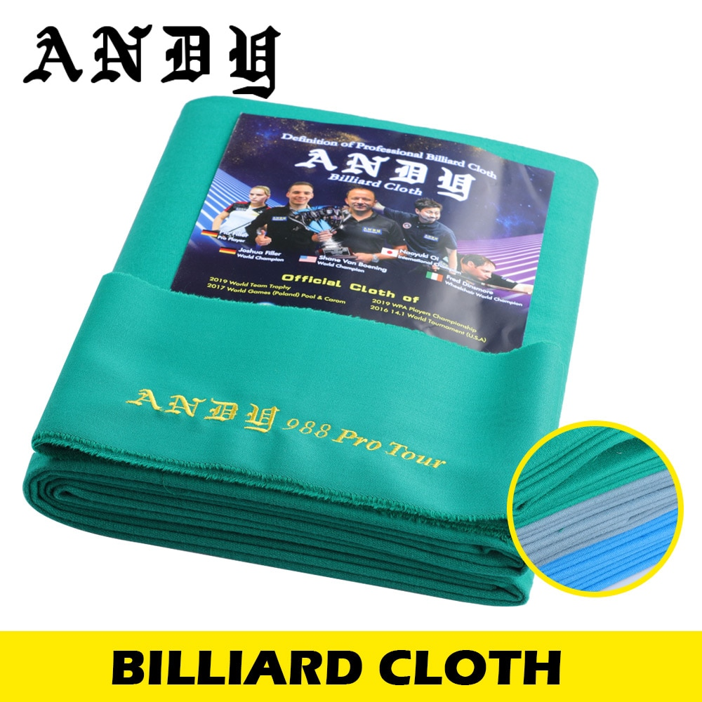 ANDY 988 Billiard Pool Table Cloth for 80% Wool 20% Nylon High Quality Professional Billiard Accessories for Tournament