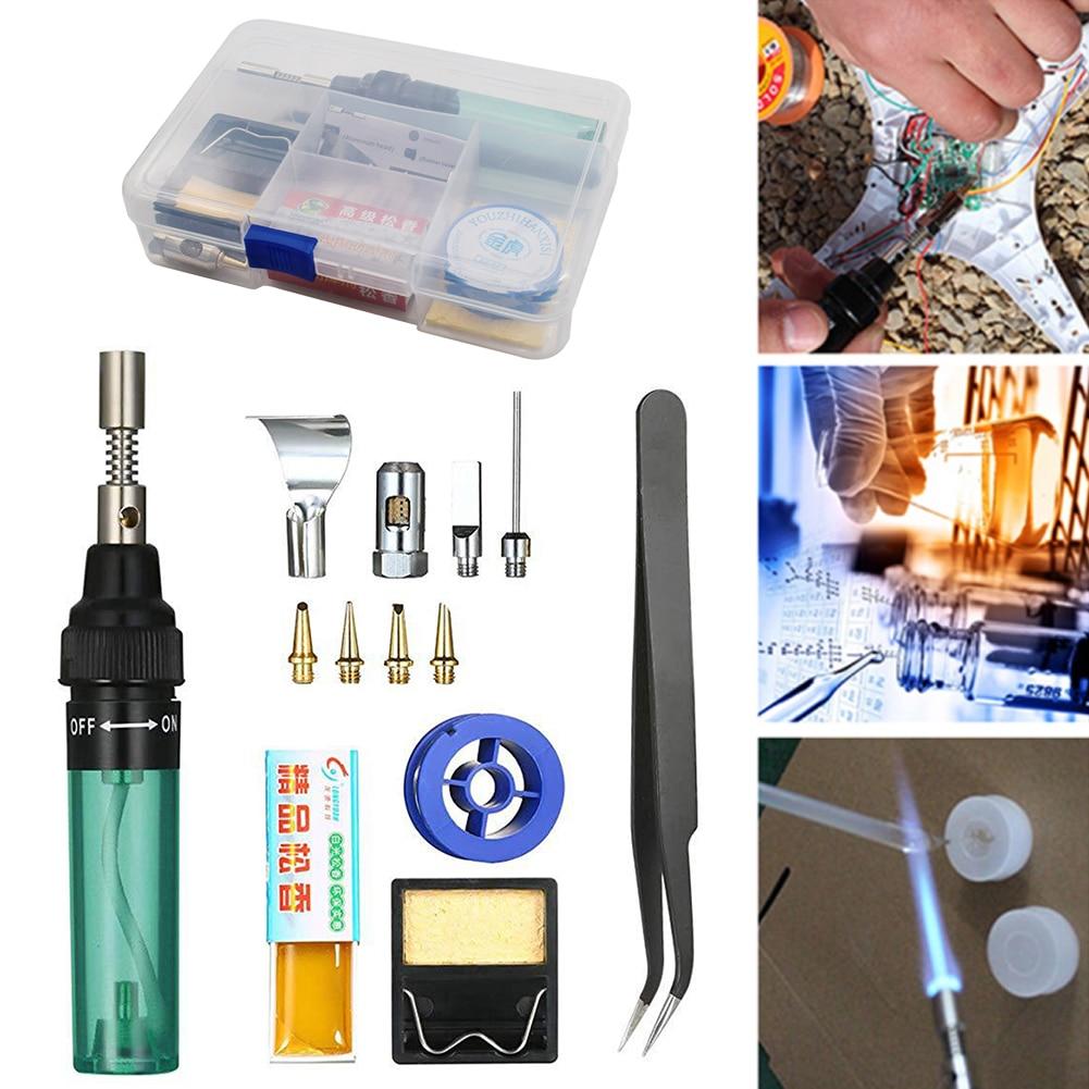 Home Multifunction Gas Soldering Iron Cordless Portable Butane Torch Welding Pen Kit 1300°C Adjustable Burner Mini Butane Welder