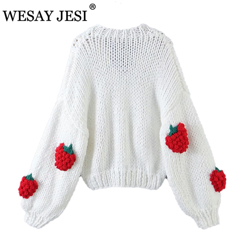 WESAY JESI Hand Made Cardigan TRAF ZA 2021 Sweater Jacket Knitted Soft Cloud Printed Chic Top Long Sleeve New Women's Coat enlarge