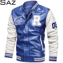 Saz 2020 Men Jacket Casual Letter Embroidery Leather Jacket Streetwear Fashion baseball Leather Bomb
