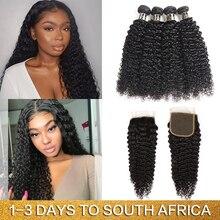 Mèches Afro naturelles Non Remy-Joedir Hair   Cheveux frisés bouclés, avec Lace Closure, lots de 3