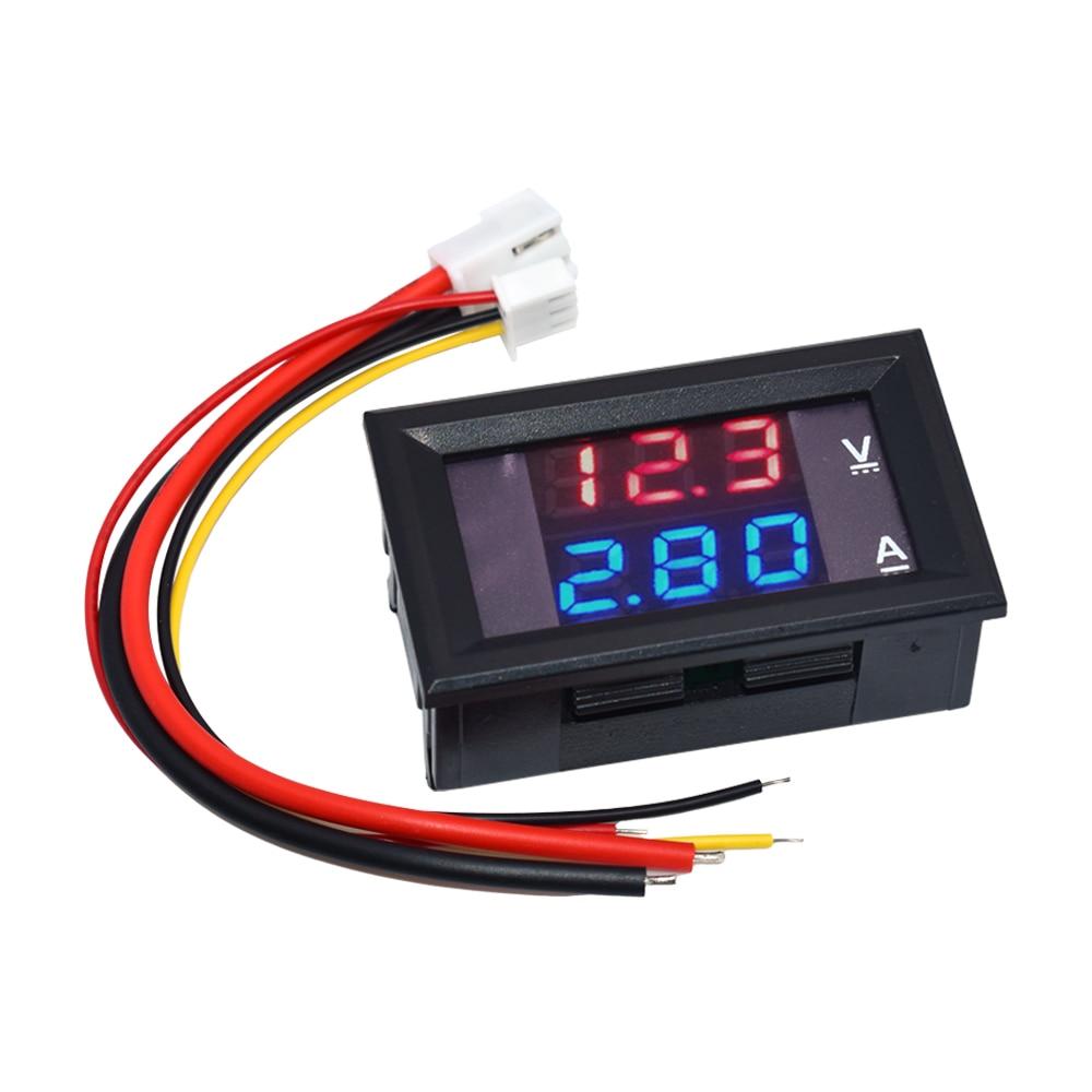 DC 0-100V 10A Digital Voltmeter Ammeter Dual Display Voltage Detector Current Meter Panel Amp Volt Gauge Red Blue LED 0.28