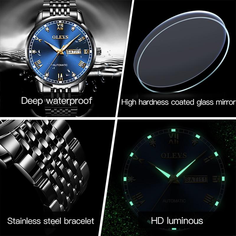 OLEVS 2021 New Men's Watch Automatic Mechanical Business 30M Waterproof Luminous Men Dual Calendar Alloy Case Watches 6602 enlarge
