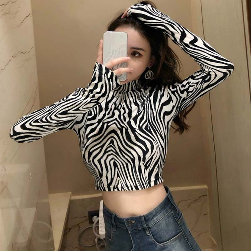 Zebra Leopard High Street Animal Print Shirts Women Turtleneck Long Sleeve Female Tops