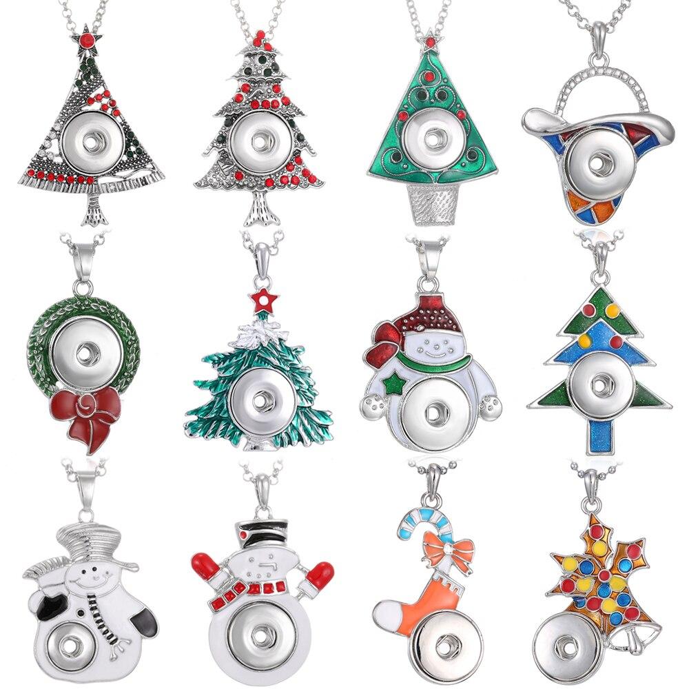 Novo natal snap jóias colares árvore de natal boneco de neve papai noel snap button colar apto 20mm 18mm snap botões jóias
