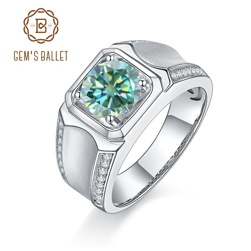 GEM'S الباليه 925 فضة 1Ct اللون الأخضر مويسانيتي خواتم الرجال خاتم الحديثة ل عيد الأب الذكرى هدية غرامة مجوهرات