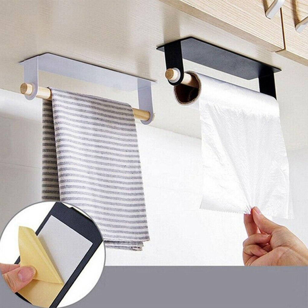 Estante colgante de madera para cocina, soporte de papel autoadhesivo para almacenamiento de toallas de papel