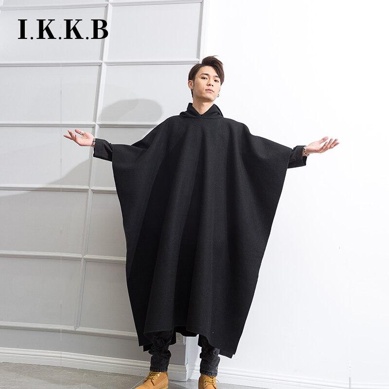 معطف رجالي طويل موضة الشتاء الكورية, معطف رجالي طويل موضة الشتاء الكورية معطف عتيق مع قبعة الذكور معطف طويل للركبة معطف أسود طويل للرجال