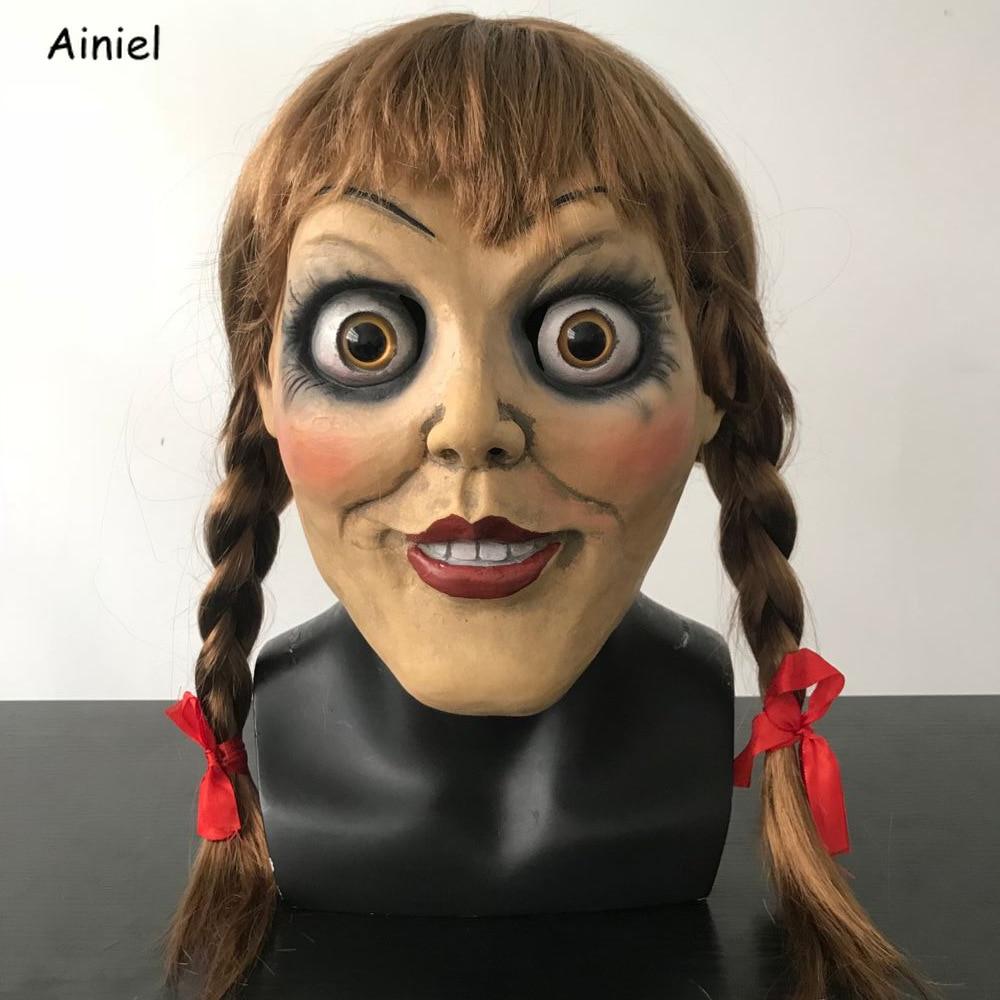 Movie Annabelle Cosplay Mask Ghost Doll Women Long Wig Girls Women Men Halloween Carnival Party Props Headgear Scary Masks