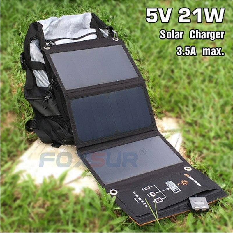 Solar ao ar 3.5a para Carregador de Telefone Foxsur Dobrável Portátil Escalada Carregador 5 v 21 w Bolsa Livre Solar Painel Celular