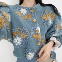 korean chic 3d flower print jackets women vintage o neck single breasted coats autumn winter lantern sleeve tops