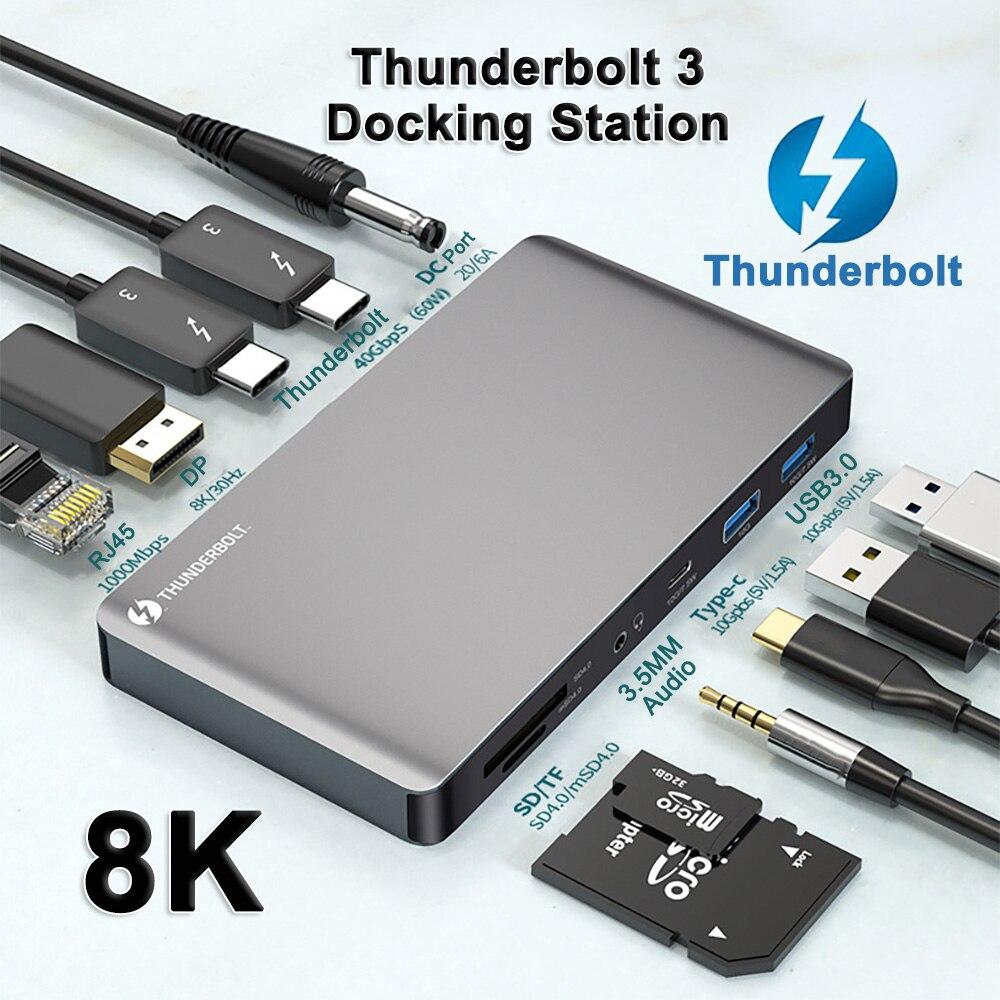 Thunderbolt 3 Docking Station Type C HUB RJ45  Gigabit Ethernet DP 8K Daisy Chain 6 Screen Expansion 10 IN 1 Thunderbolt 3 HUB