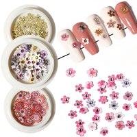 a box of mini nail art multi color simulation flowers ultra thin diamond studded wood pulp paperdiynail decoration sticker decal