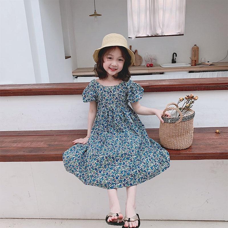 Kids Summer Clothes Baby Girls Dress Vintage Elegant Designer Cottagecore Halter Cute Short Sleeve Floral Casual Cotton Costume