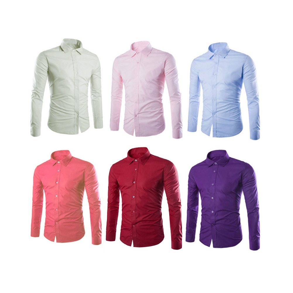 Spring Autumn Men Shirt Long Sleeve Solid Color Easy-care Anti Crease Man Casual Shirts M-3XL B88