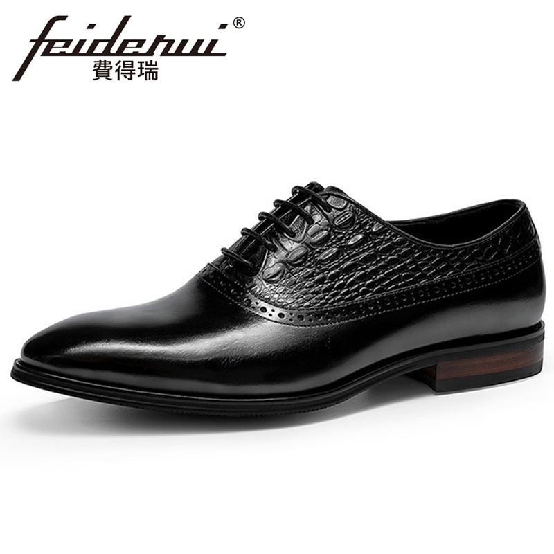 Zapatos de fiesta nupcial hechos a mano para hombre FHS295 estilo italiano de cuero genuino vestido Formal Oxfords puntiagudos diseño de cocodrilo