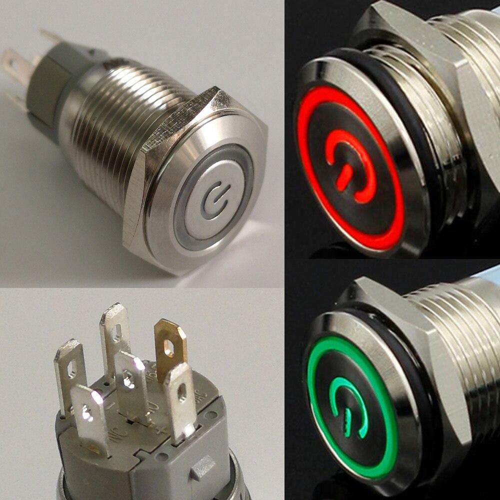 2 piezas 16mm 3,3 V 5V 12V doble Color bicolor rojo/Verde anillo LED 1NO1NC reinicio momentáneo Anti-vandalismo interruptor de coche eléctrico