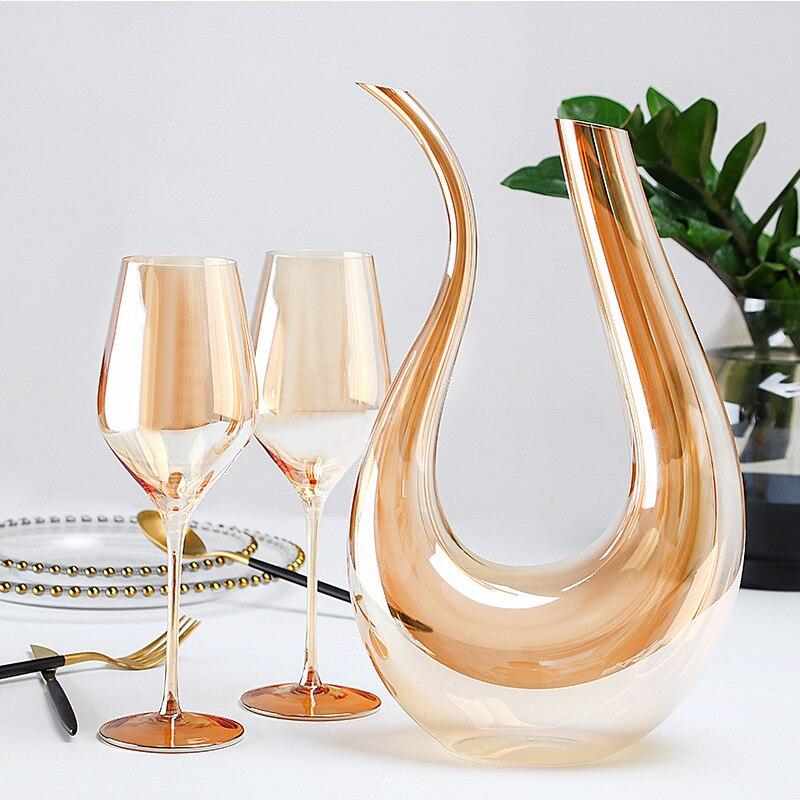 Casa de Vidro Conjunto de Vidro de Vinho Navio em Forma de u Colorido Decanter Goblets Casa Barra Vinho Decanters Taça Dupla Terno Wineware