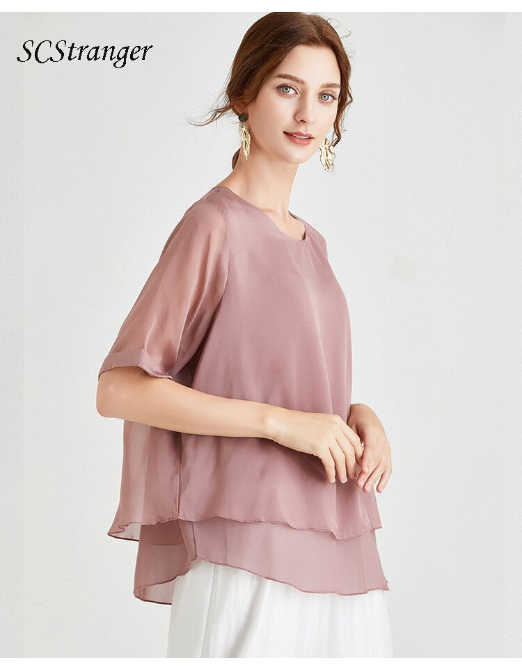 Womens Solid Color Silk Crop Tops Lady Summer Casual Loose Plus Size Round Neck Top Fashion Mulberry Silk Short Sleeved T Shirt