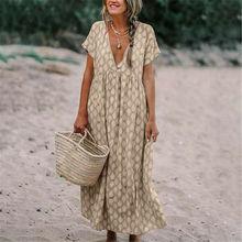 Femmes coton lin robe grande taille lâche caftan plage à manches longues 2019 été rayé femmes grande taille longue Maxi Boho robes