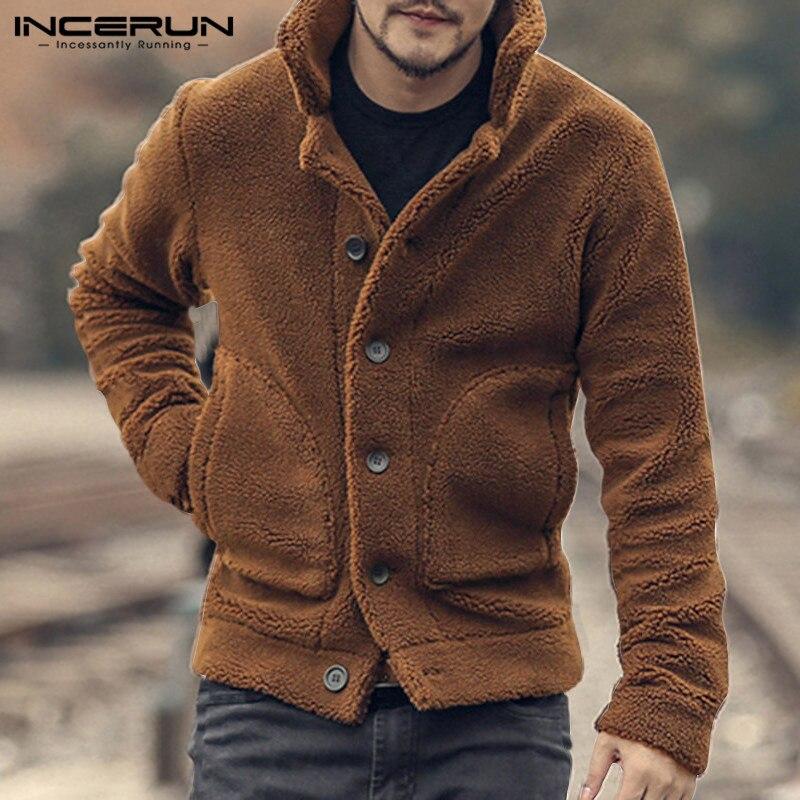 Winter Fleece Männer Jacken Mäntel Mode Flauschigen Lange Sleeve Solide Taschen Taste Up Oberbekleidung Streetwear Plüsch Mäntel INCERUN