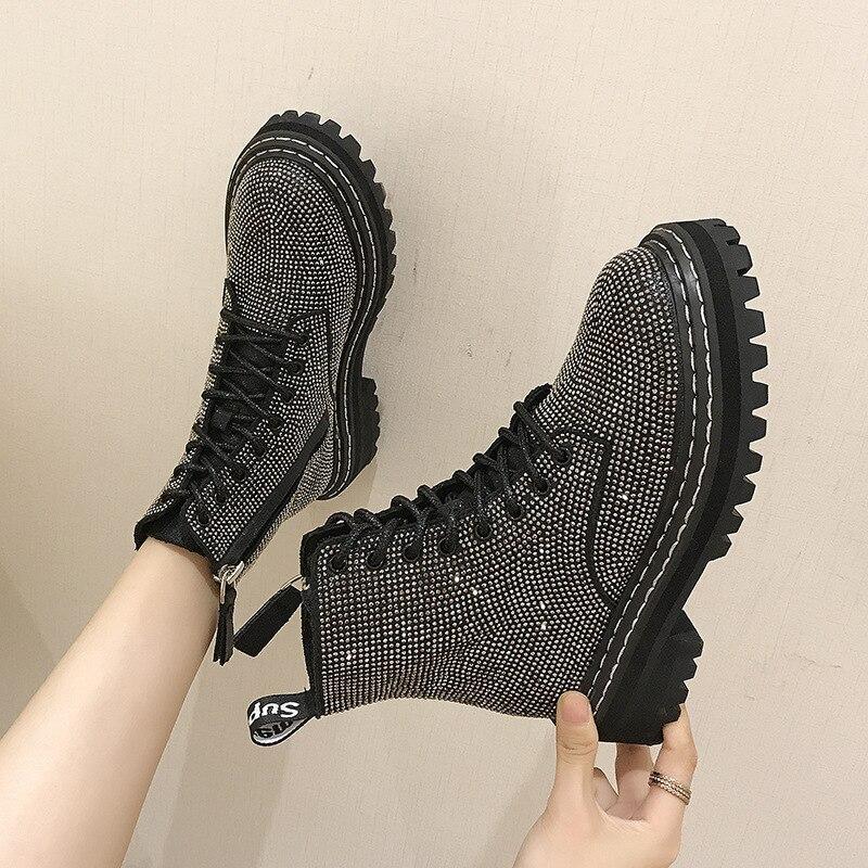 Zapatos de Mujer de calidad de invierno bombas vestido Martin Botas con plataforma de diamantes de imitación con cordones de punta redonda con tacones medio nieve Botas de Mujer