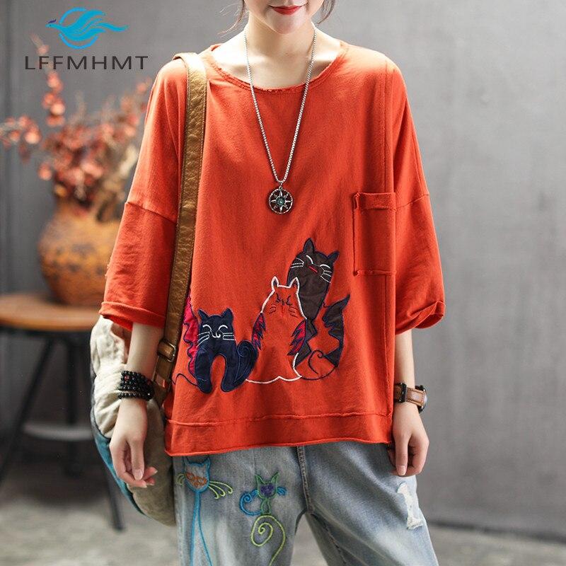 Женская летняя модная китайская Винтажная футболка с вышитым карманом и рукавом три четверти и круглым вырезом, Женские повседневные футболки