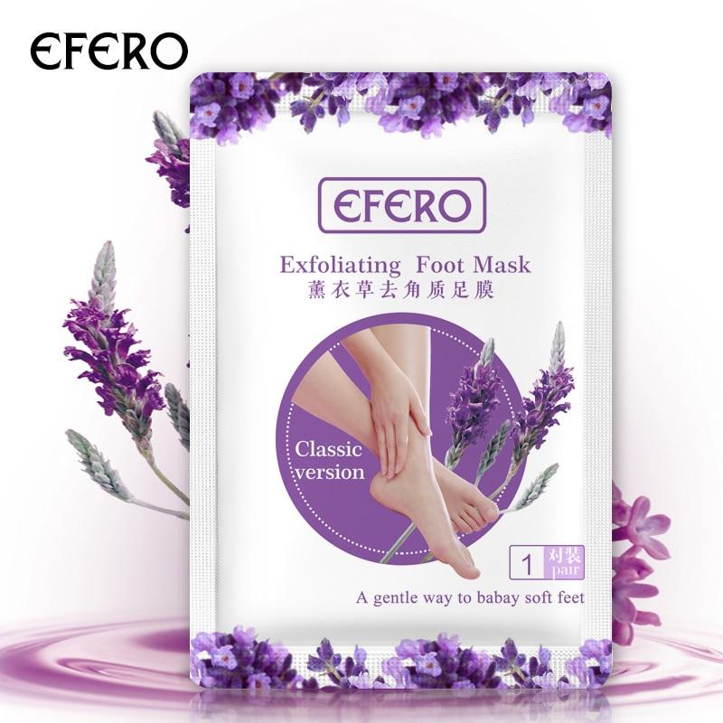 Efero 2 пары = 4 шт. Лавандовая отшелушивающая маска для ног уход за кожей ног красивые носки для педикюра увлажняющие спа для ног