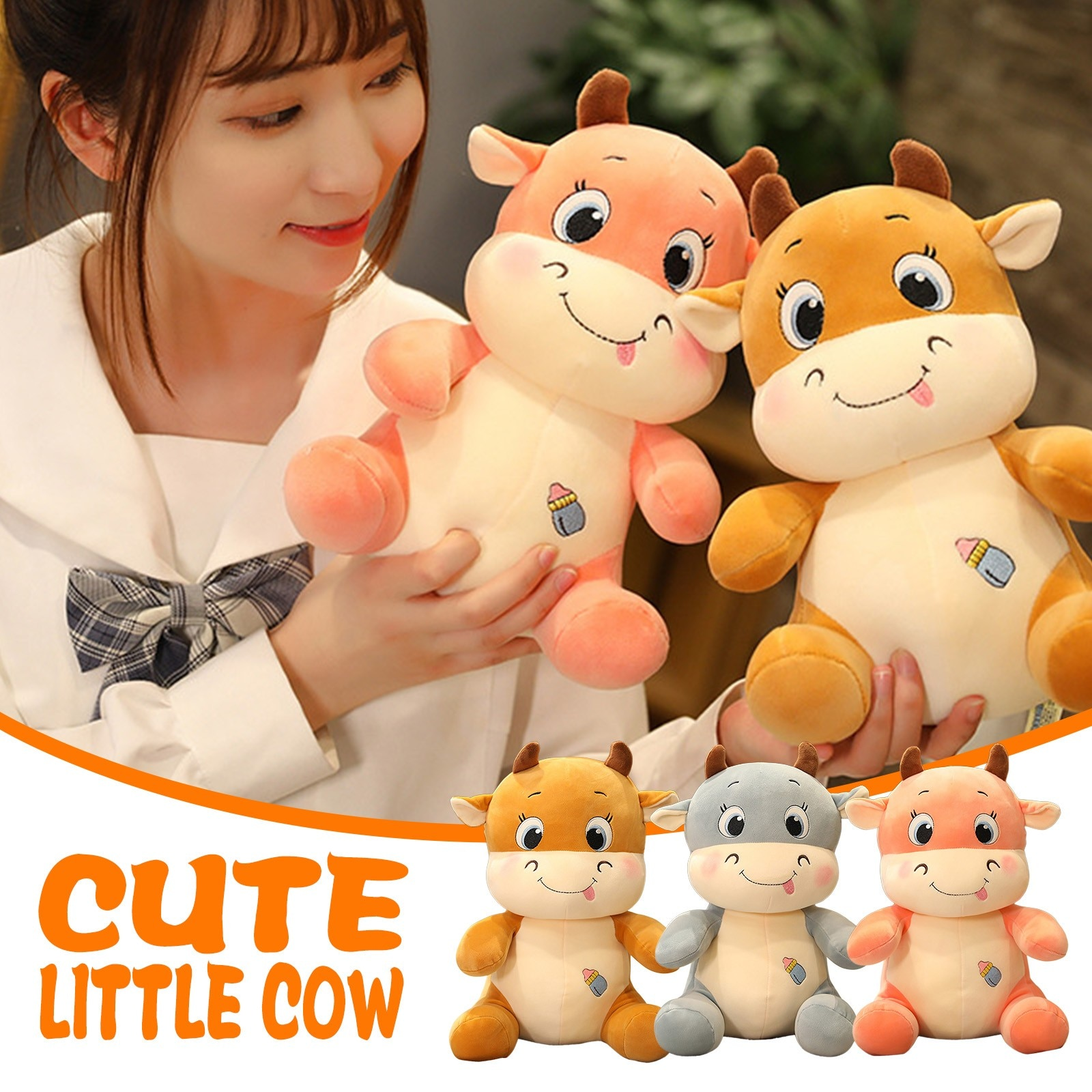 25cm free shipping kawaii cat plush pillow with zipper pp cotton biscuit shape plush animal doll toy children s christmas gift 25cm Cute And Warm Adorable Cow Pillow Sofa Backrest Calf Doll  Plush Toys For Children Kawaii Cartoon Animal Plush Toy Gift 5*